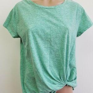 Umgee Heathered Green Front Side Twist Shirt